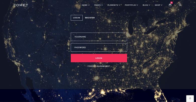 comet drupal, comet drupal theme, drupal login page template, login screen drupal